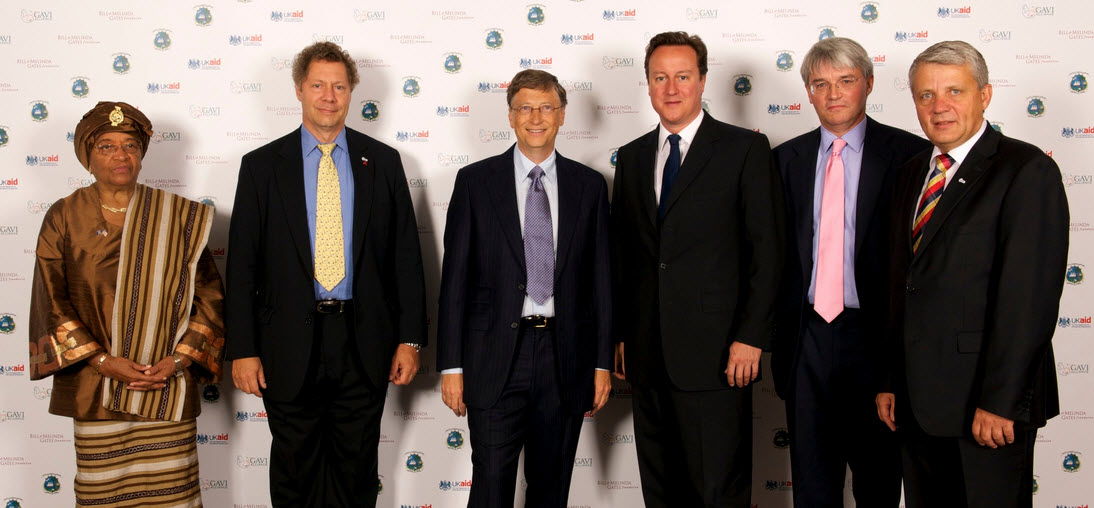 President Ellen Johnson Sirleaf of Liberia with UK Prime Minister David Cameron and Bill Gates at an aid conference in London